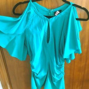 Teal Green flutter sleeve top